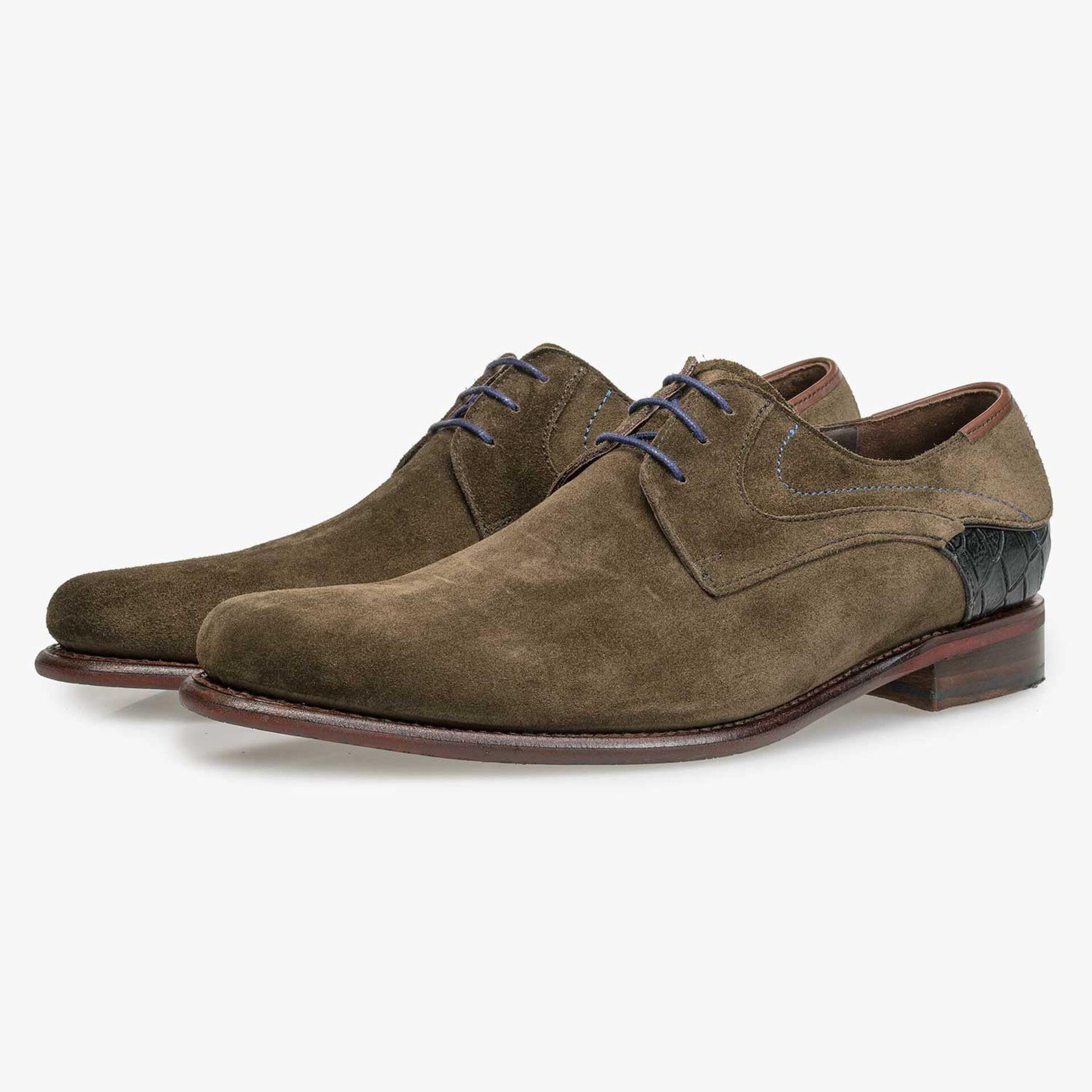 Olive green calf's suede leather lace shoe