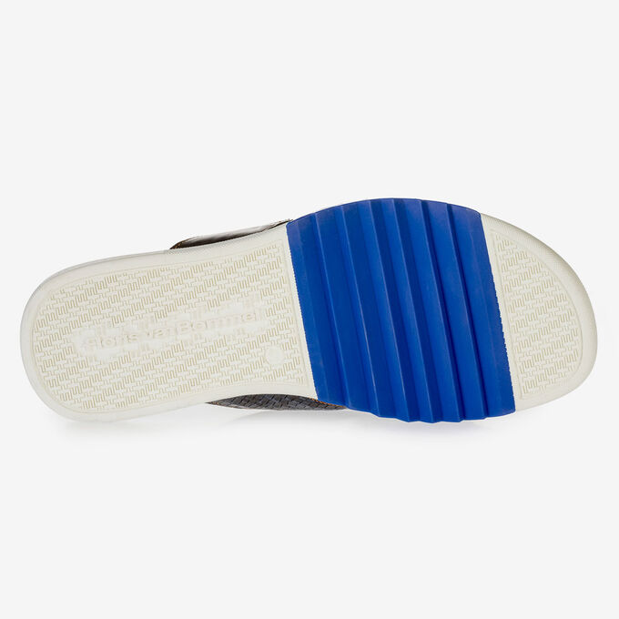 Dark blue nubuck leather cross strap slipper with print