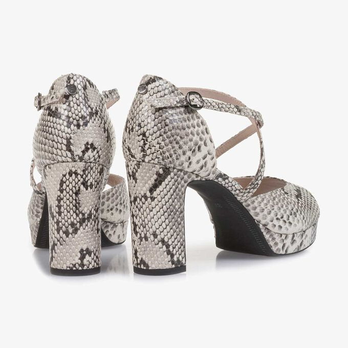 White snake print high-heeled leather sandal