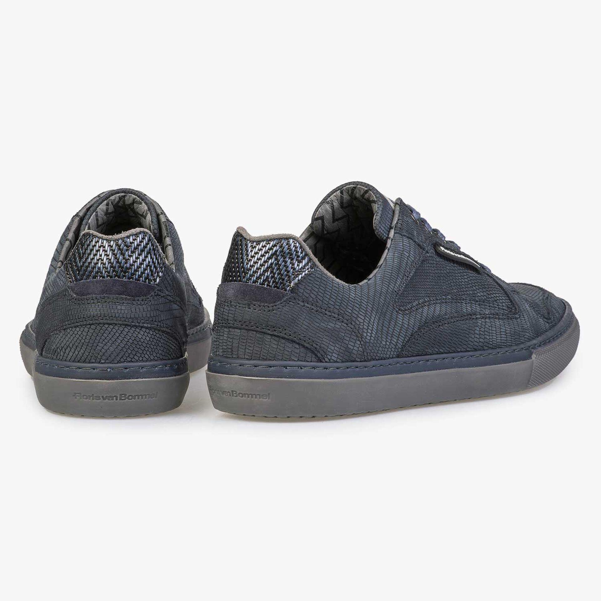 Blue lizard print nubuck leather sneaker