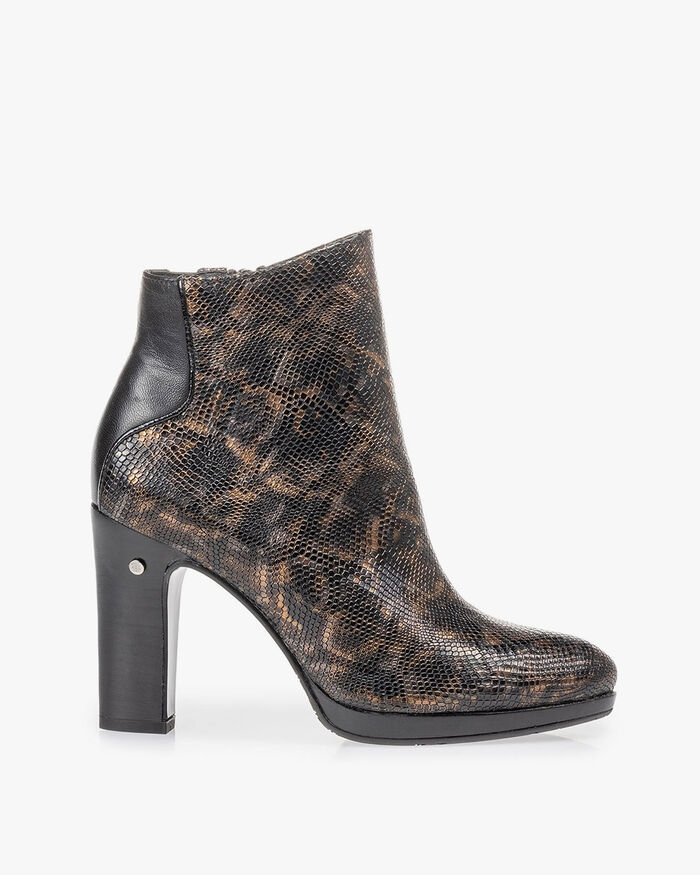 Ankle boot croco print copper