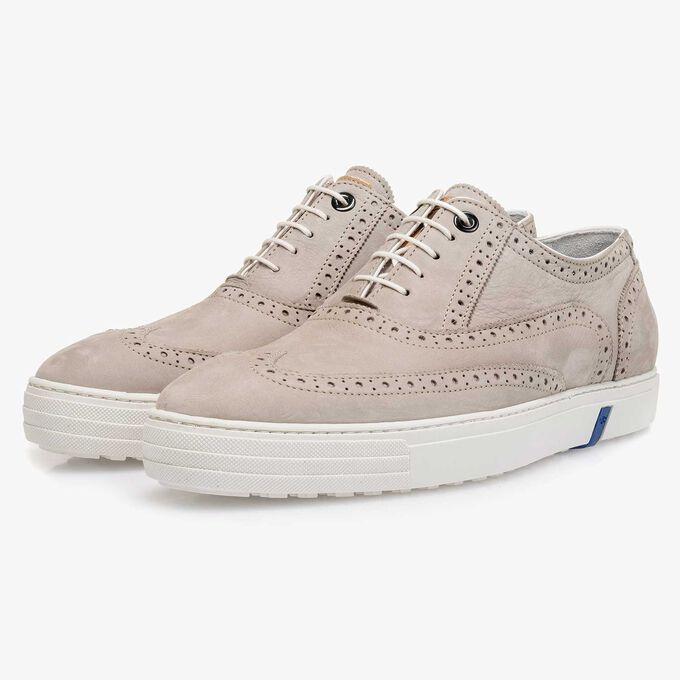 Light grey nubuck leather brogue shoe