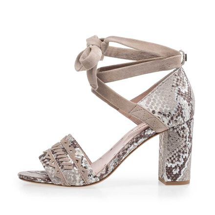 Taupe-coloured suede leather sandal with snake print