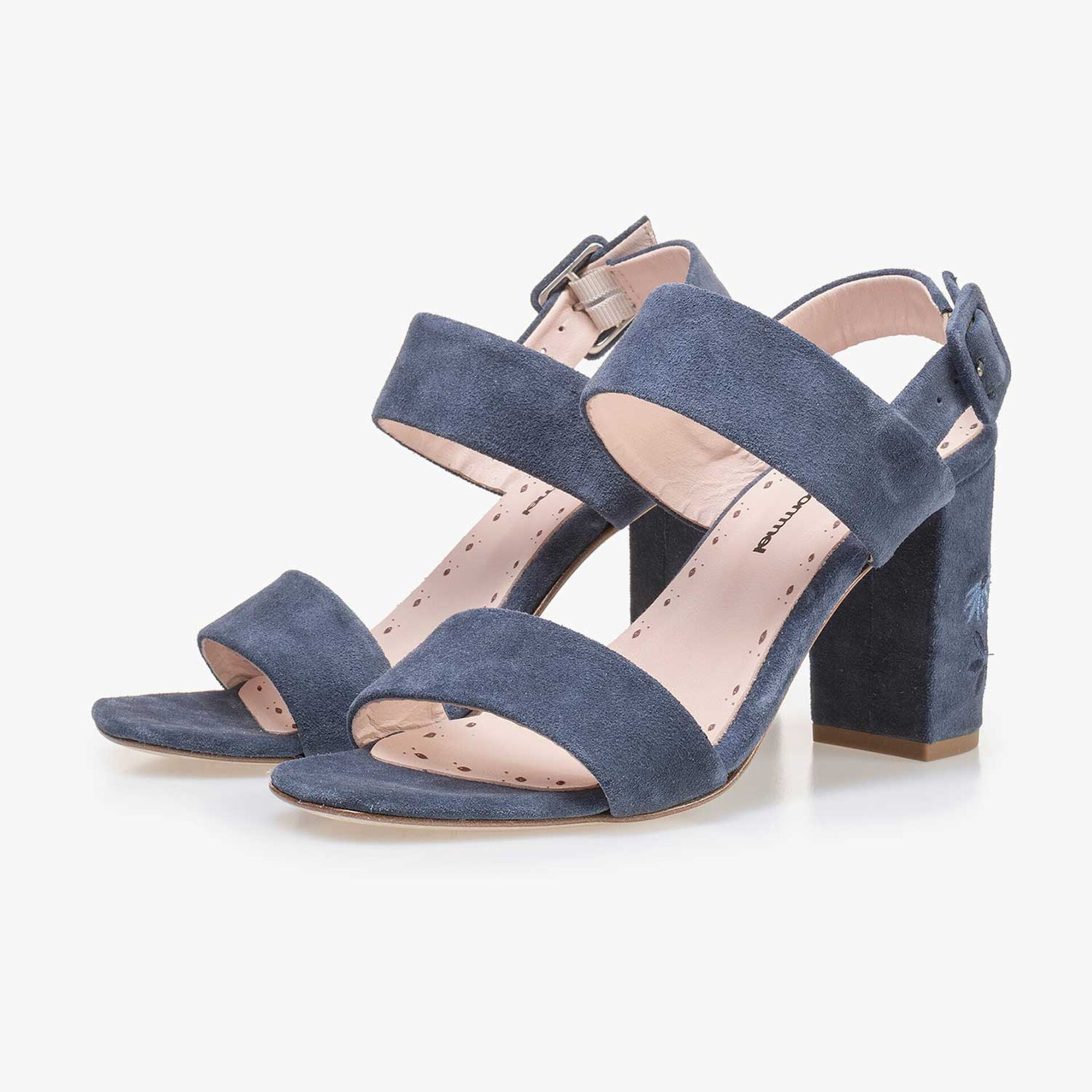 Denim blue calf's suede leather sandal with floral embroidery stitching