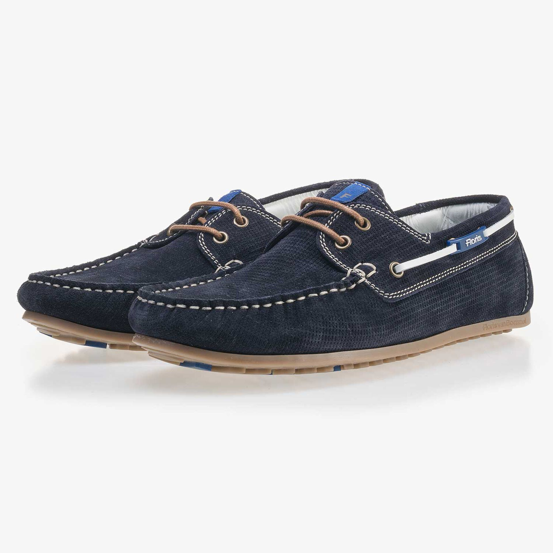 Dark blue, patterned suede leather boat shoe