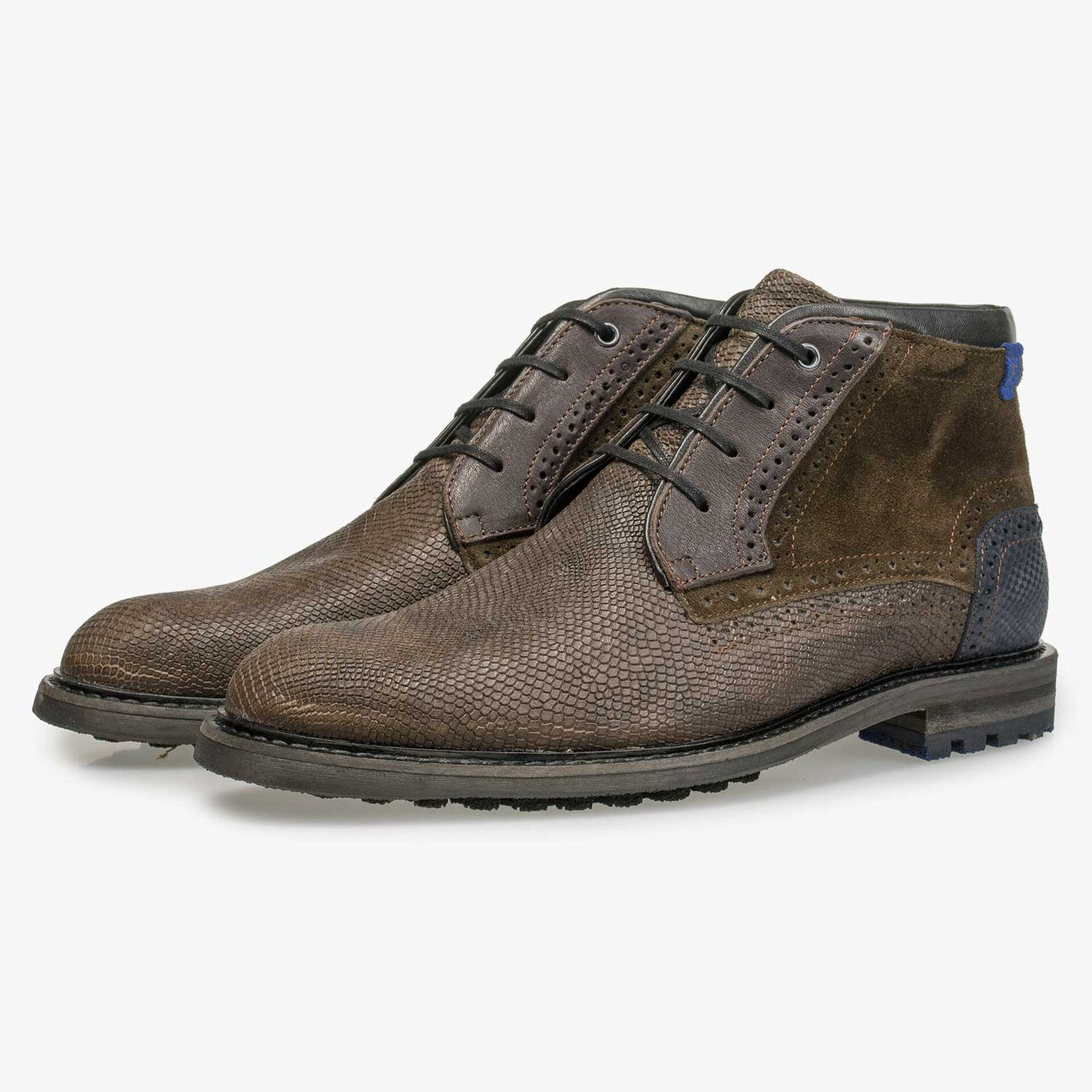 Brown nubuck leather lace boot with structural pattern