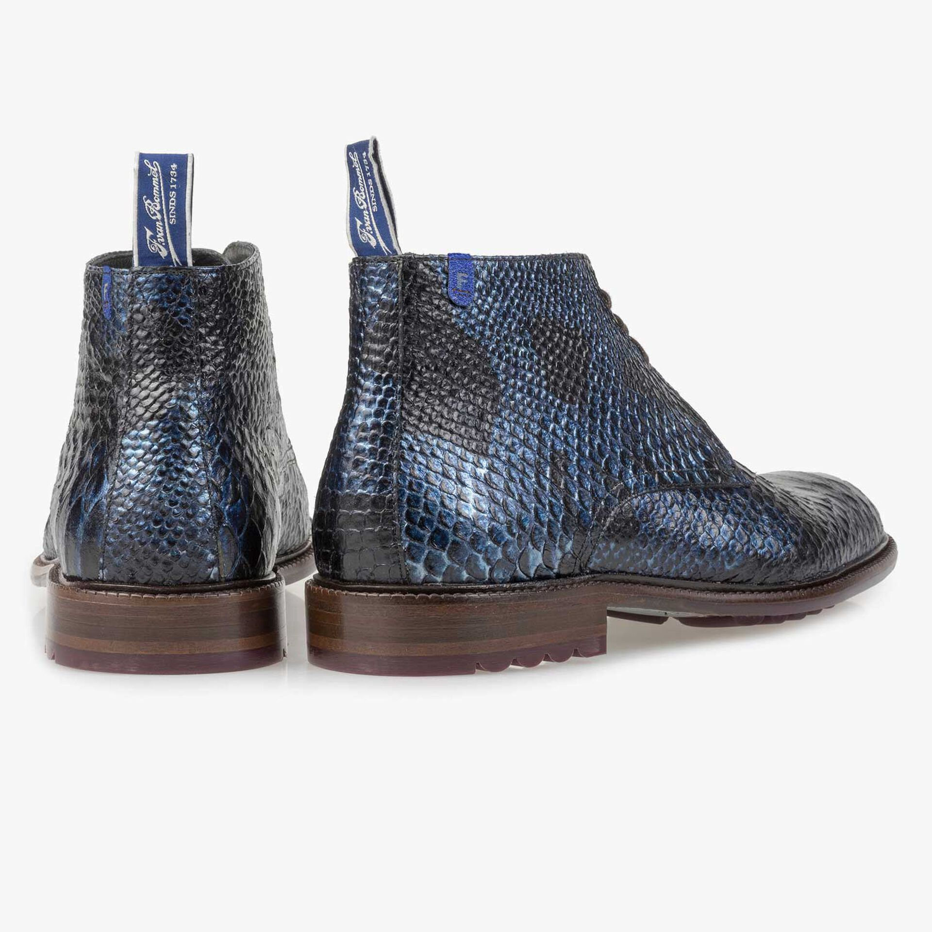 Blue lace boot with snake print