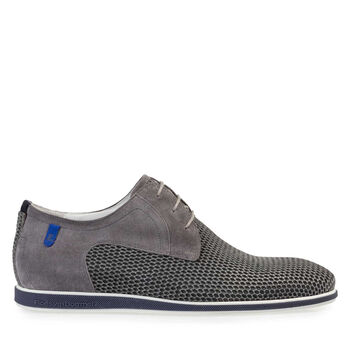 Lace shoe printed suede leather grey