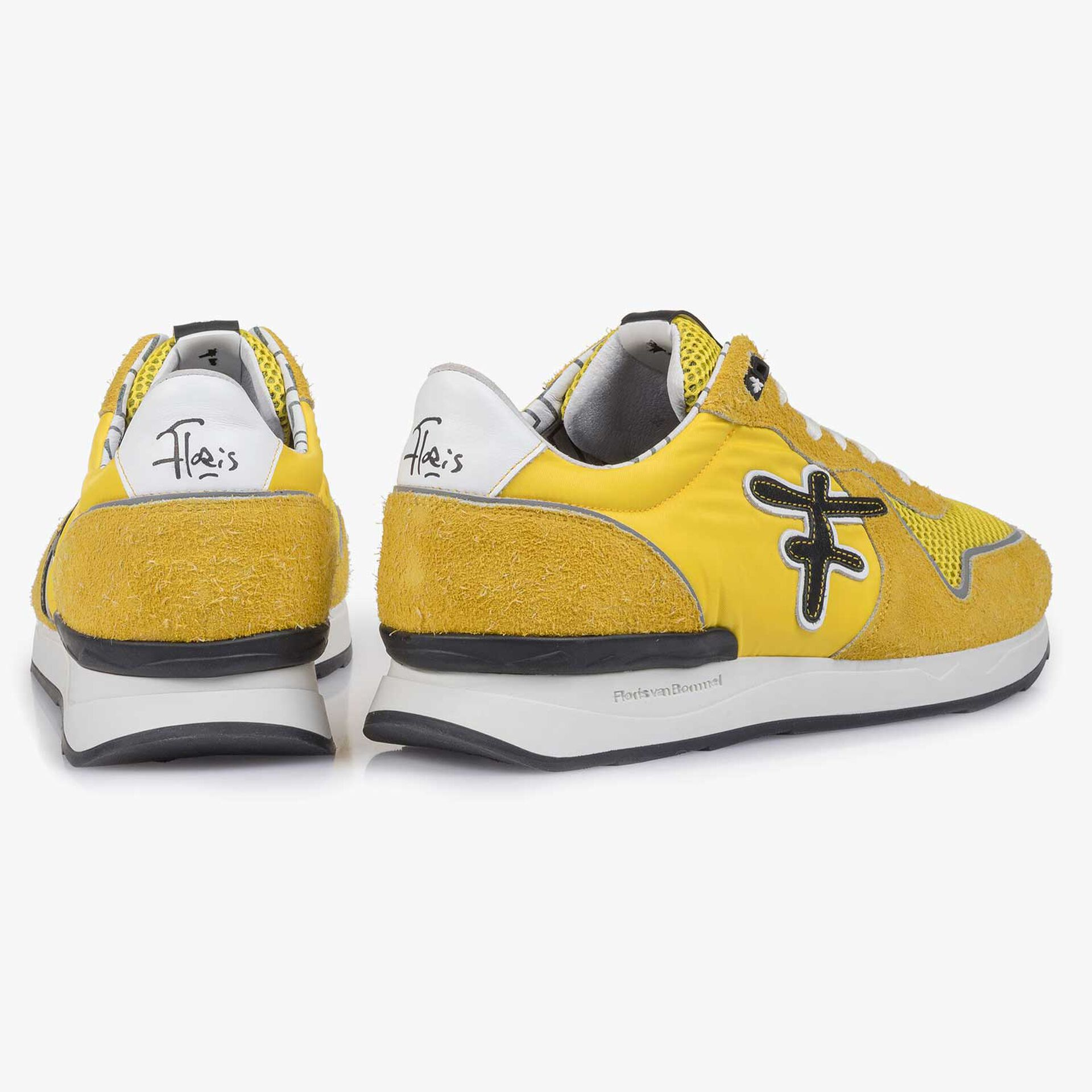 Yellow-black suede leather sneaker