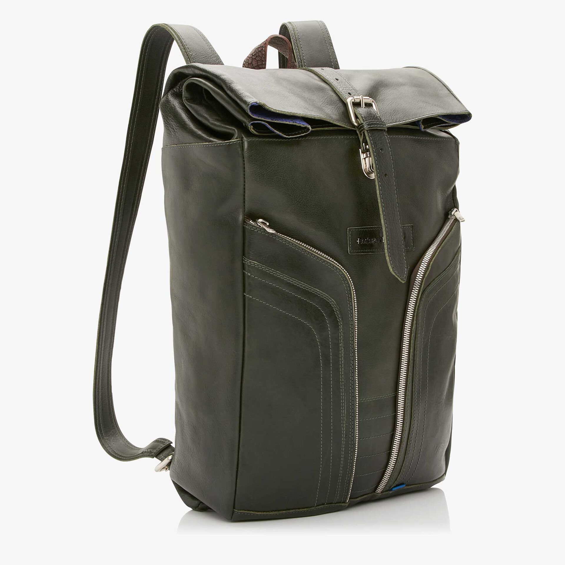 Floris van Bommel green leather backpack