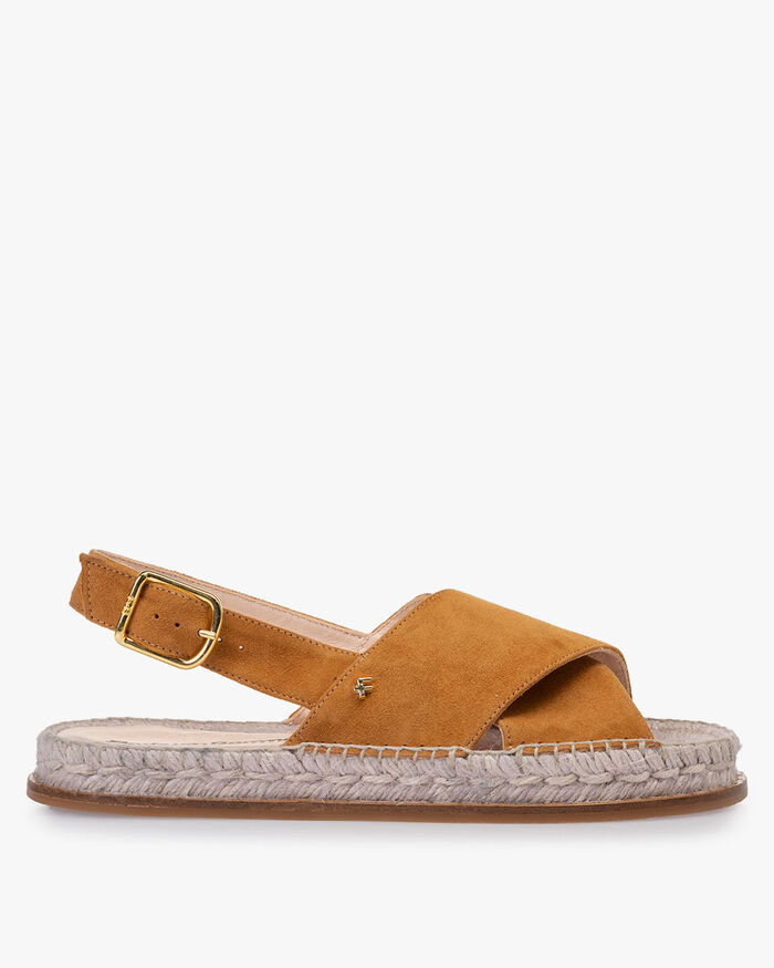 Sandal suede leather cognac