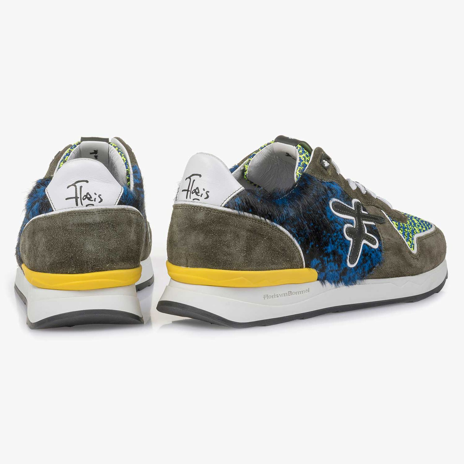 Green premium suede leather sneaker with color accents