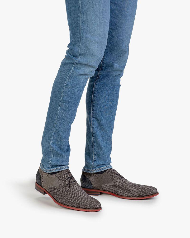 Lace shoe nubuck leather taupe