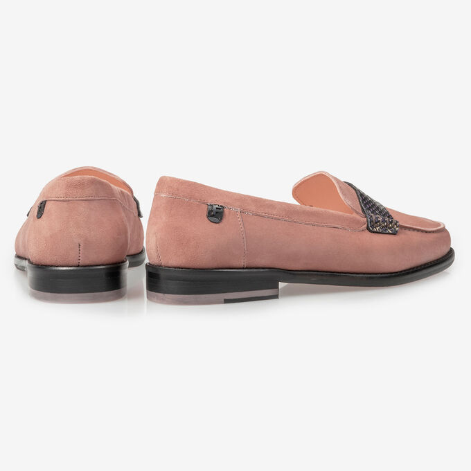 Pink suede leather loafer