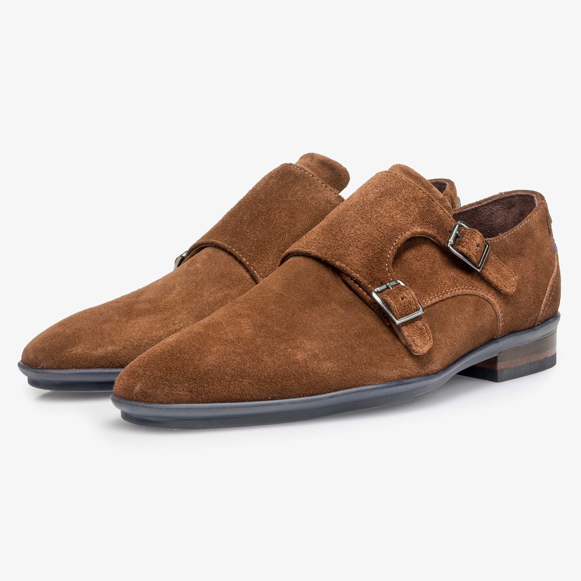 Brown calf suede leather double buckle monk strap