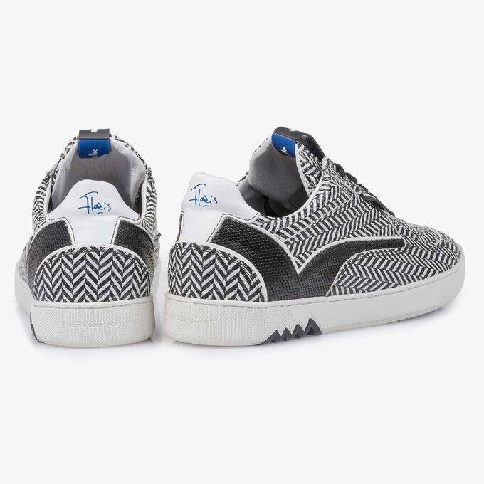 Black & white leather sneaker with a herringbone pattern