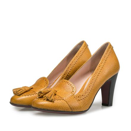 Leather tassel high heels