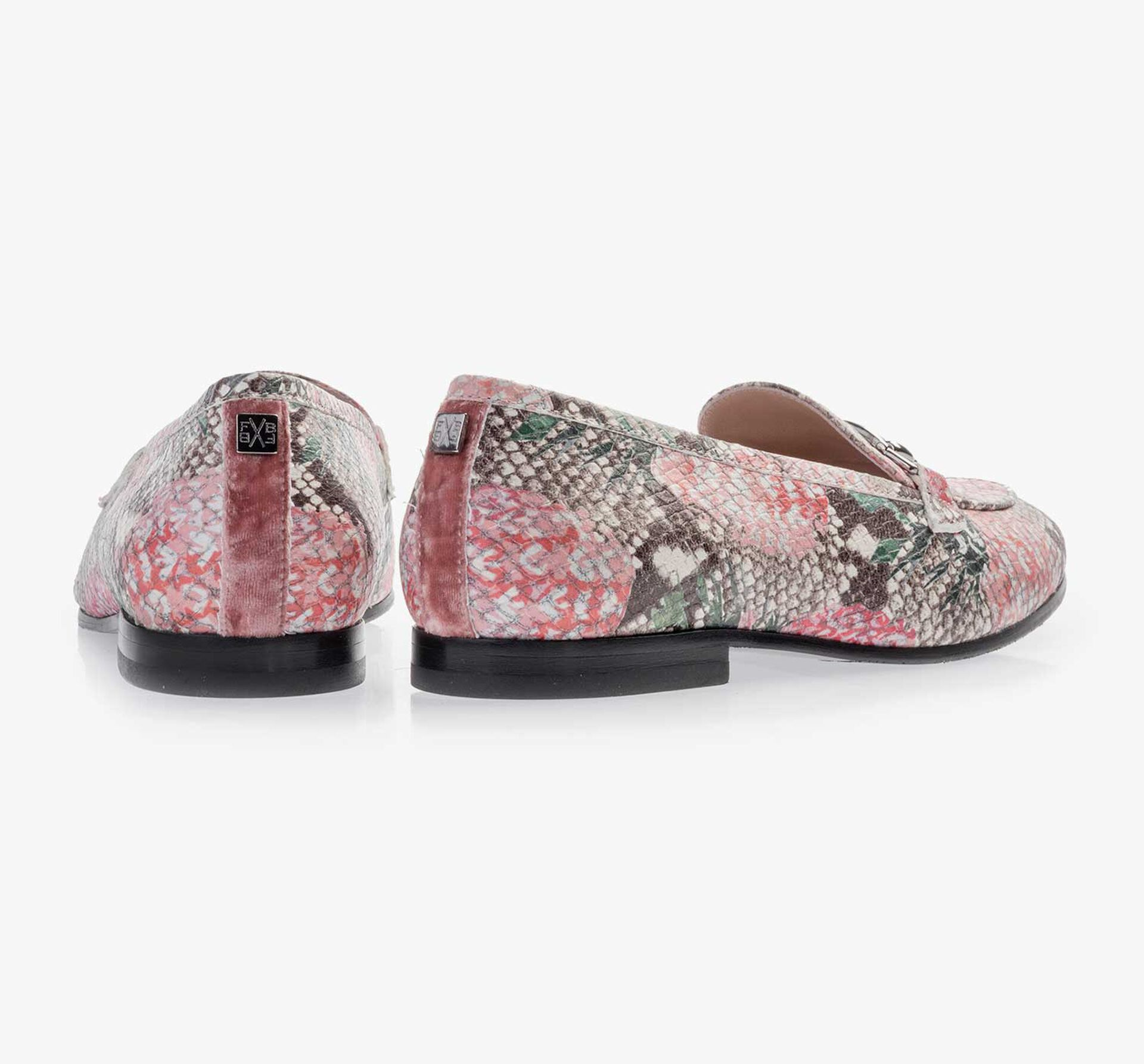 Multi-coloured leather loafer with printed motif