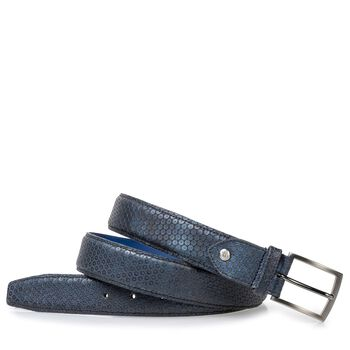 Leather belt blue with print
