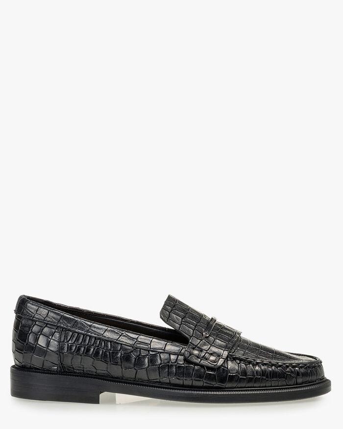 Loafer reptile print black