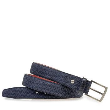 Belt nubuck leather blue