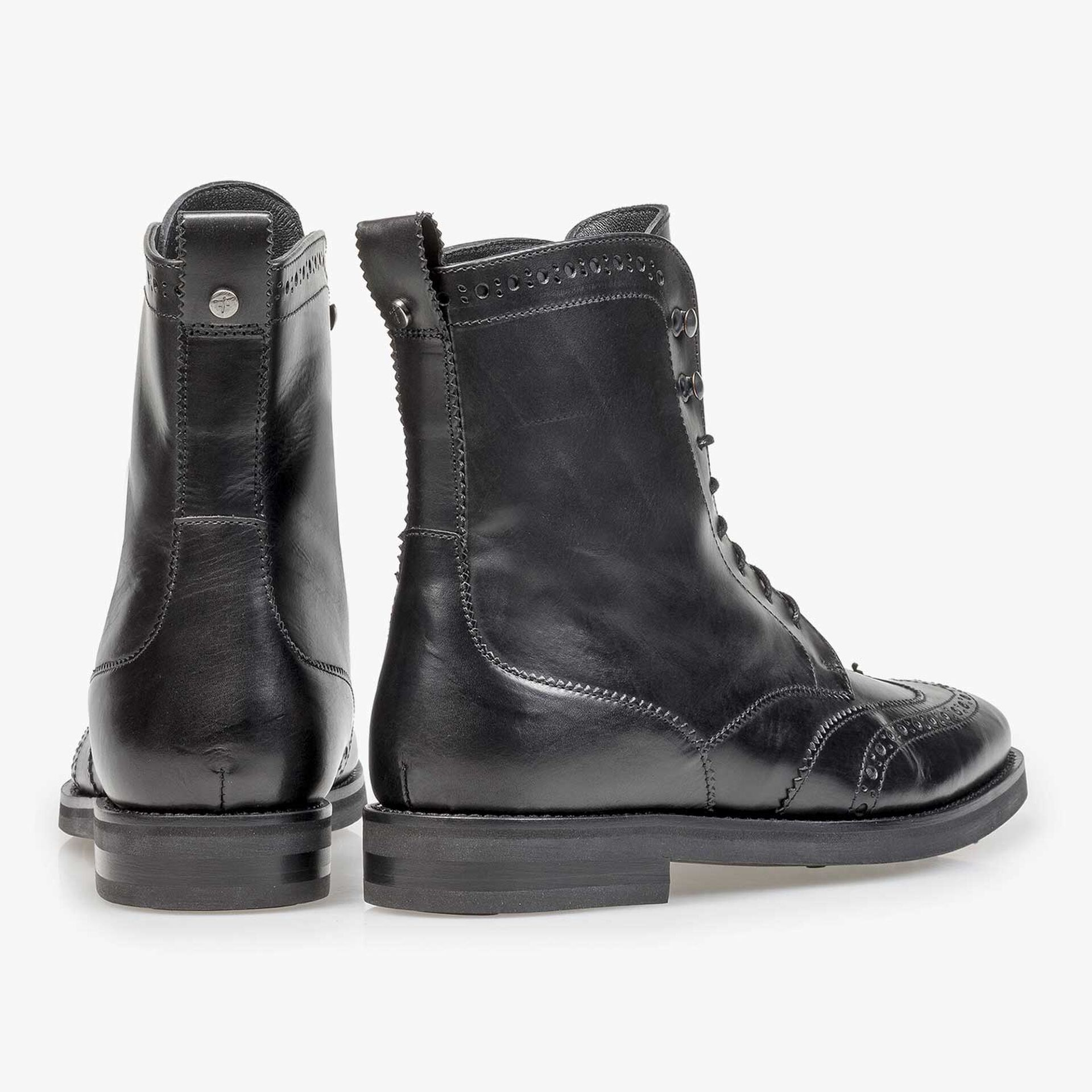 Black calf leather biker lace boot