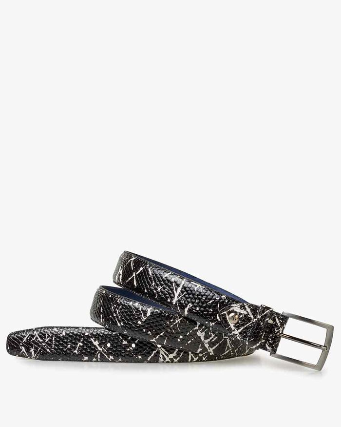 Belt printed leather black/white