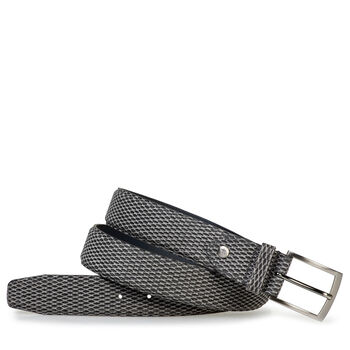 Belt printed suede leather grey