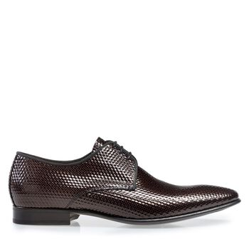 Lace shoe printed leather red