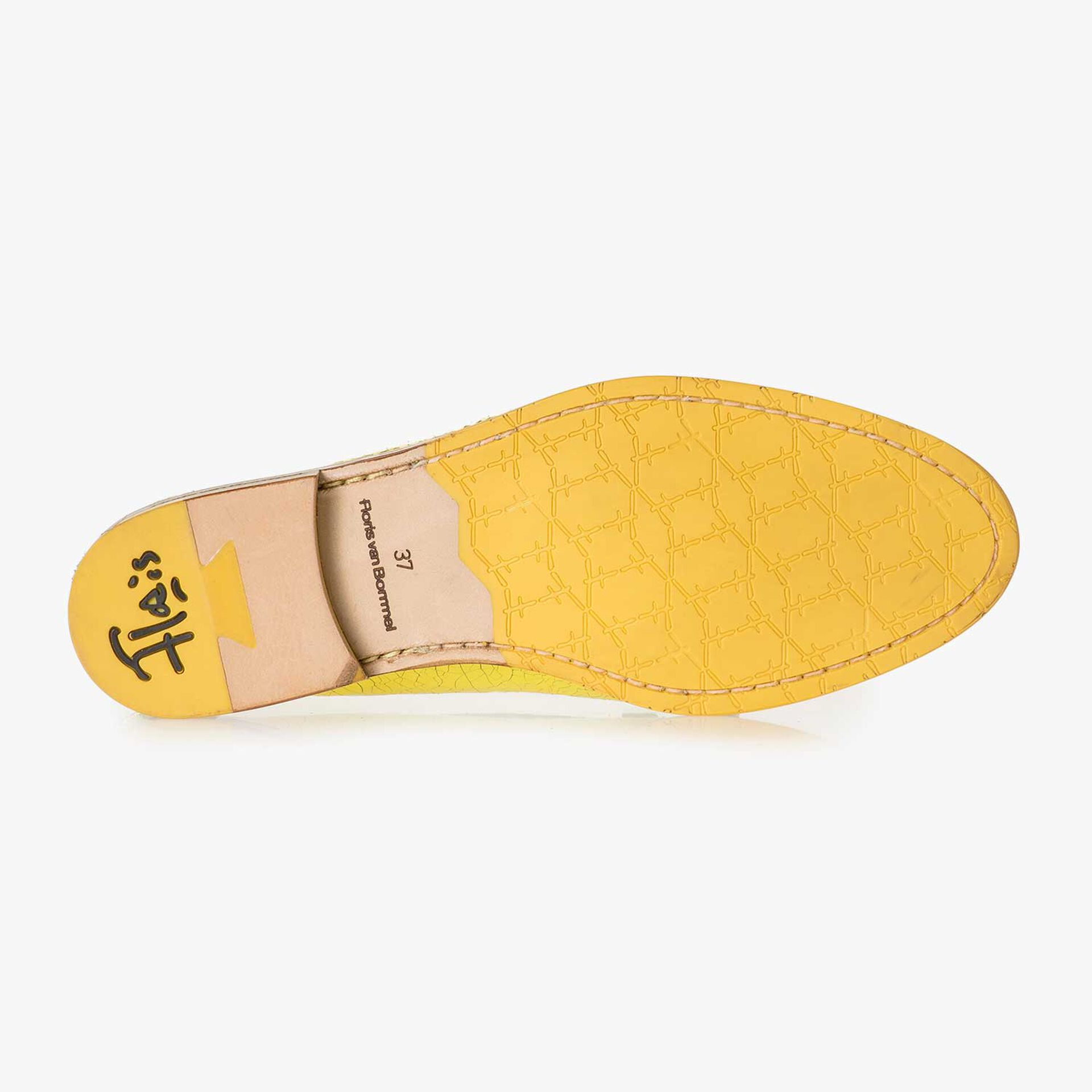 Yellow metallic leather loafer with craquelé effect