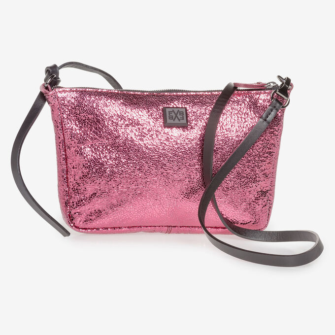 Pink leather bag with metallic print