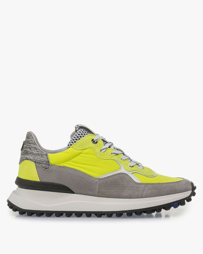 Premium grey and yellow suede leather sneaker