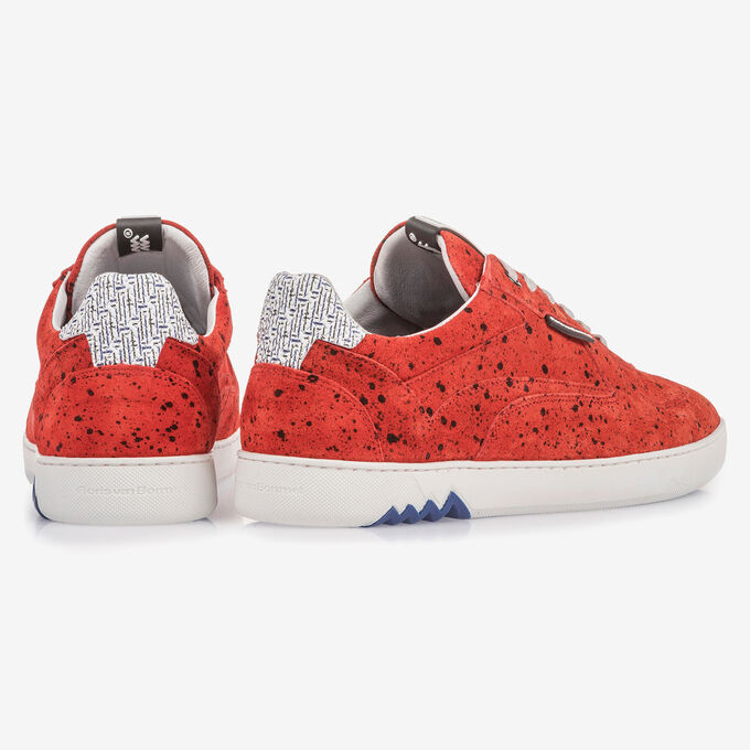 Red suede leather sneaker with black print