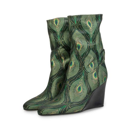 Mid-high wedge heel boots