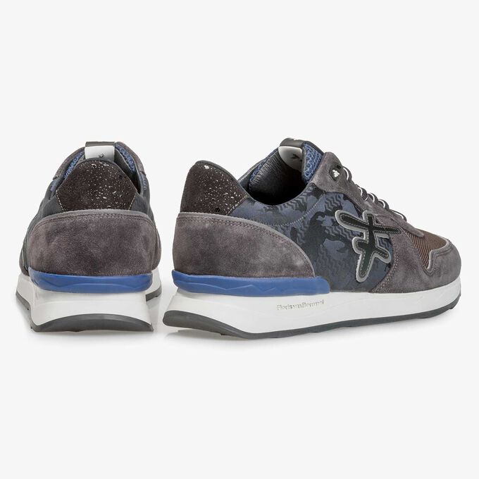 Dark grey printed suede leather sneaker