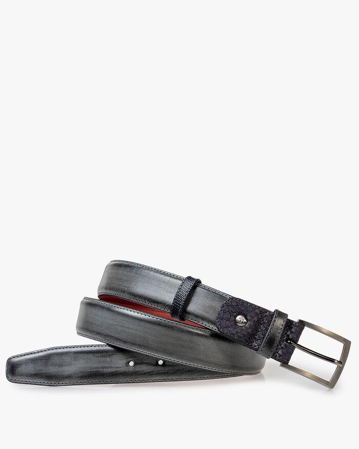 Belt calf leather grey