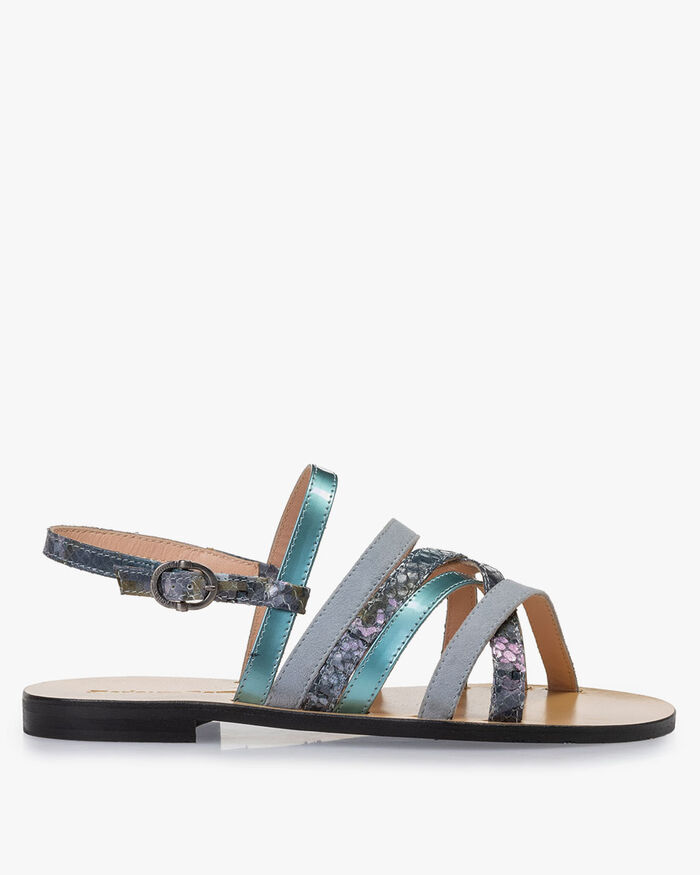 Sandal printed leather blue