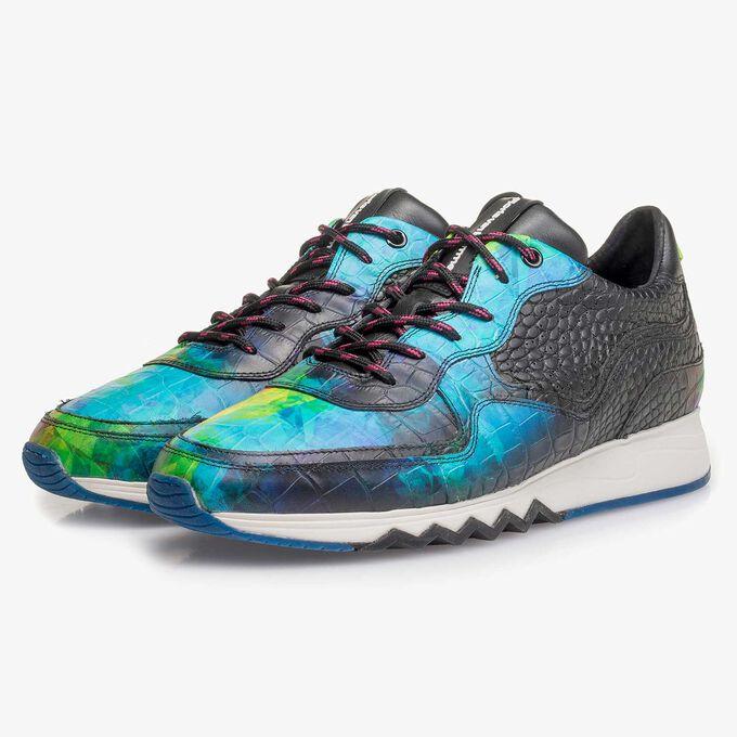 Multi-coloured croco print calf leather sneaker