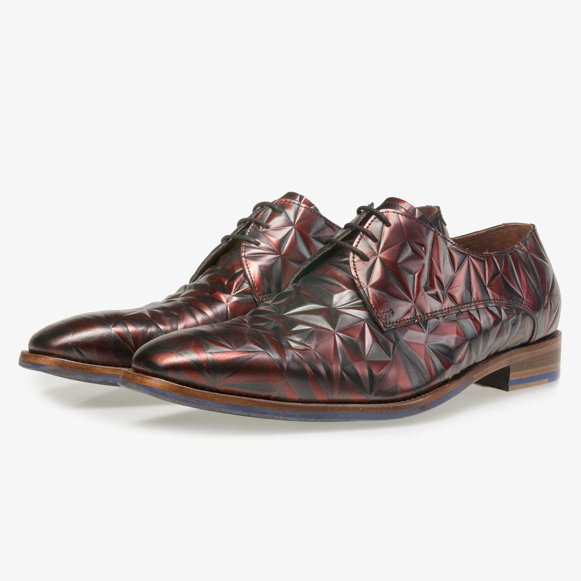 Floris van Bommel men's claret leather lace shoe finished with a black mother-of-pearl effect