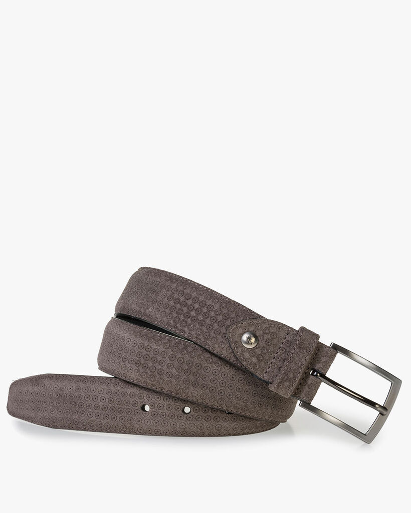 Taupe-coloured suede leather belt with print