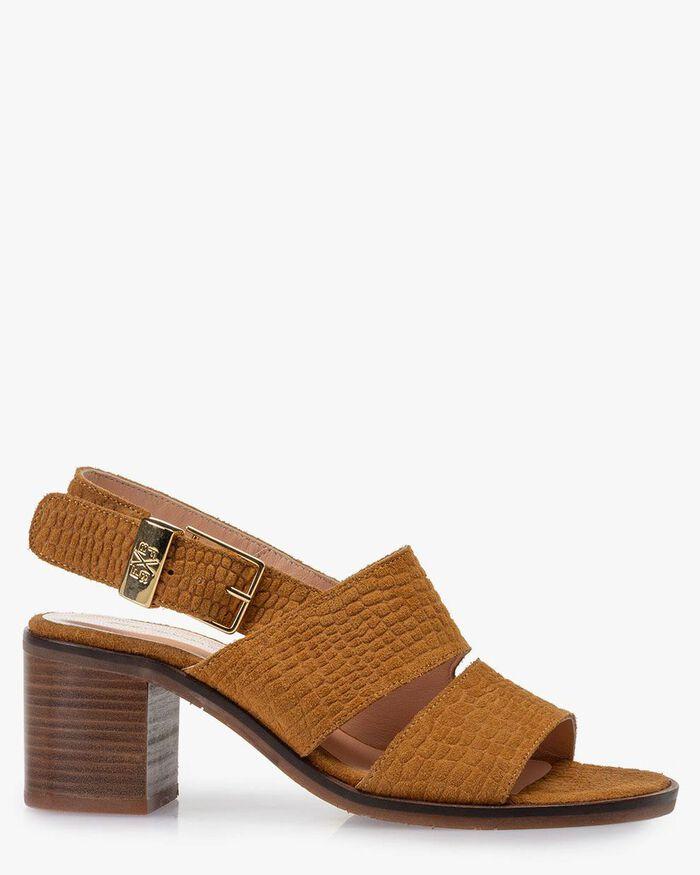 Sandal printed suede leather cognac