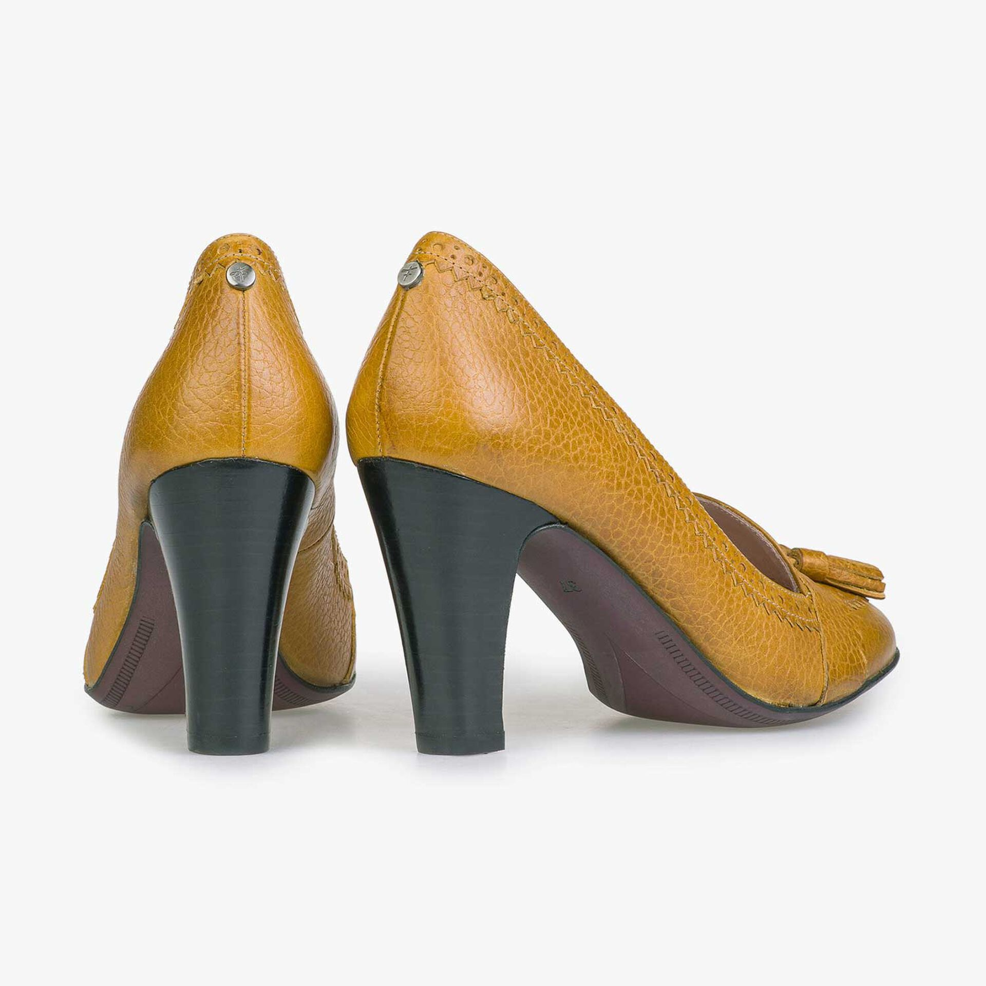 Mustard yellow calf leather tassel high heels