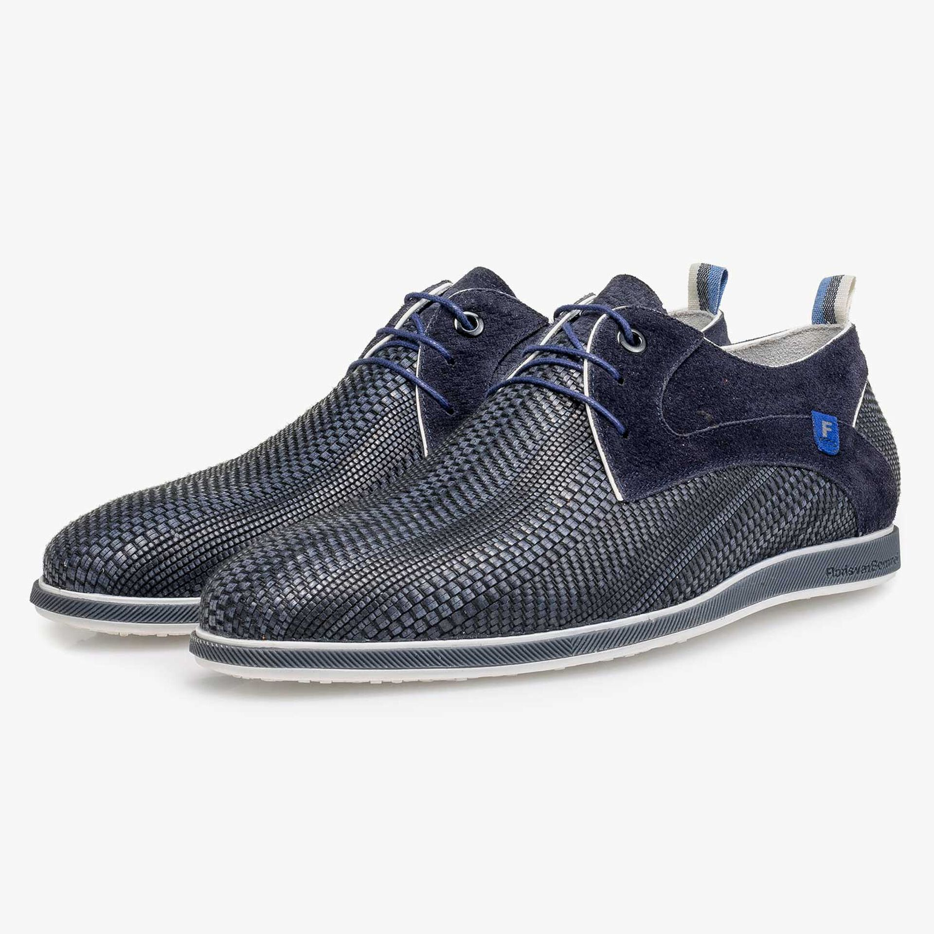 Blue braided leather lace shoe