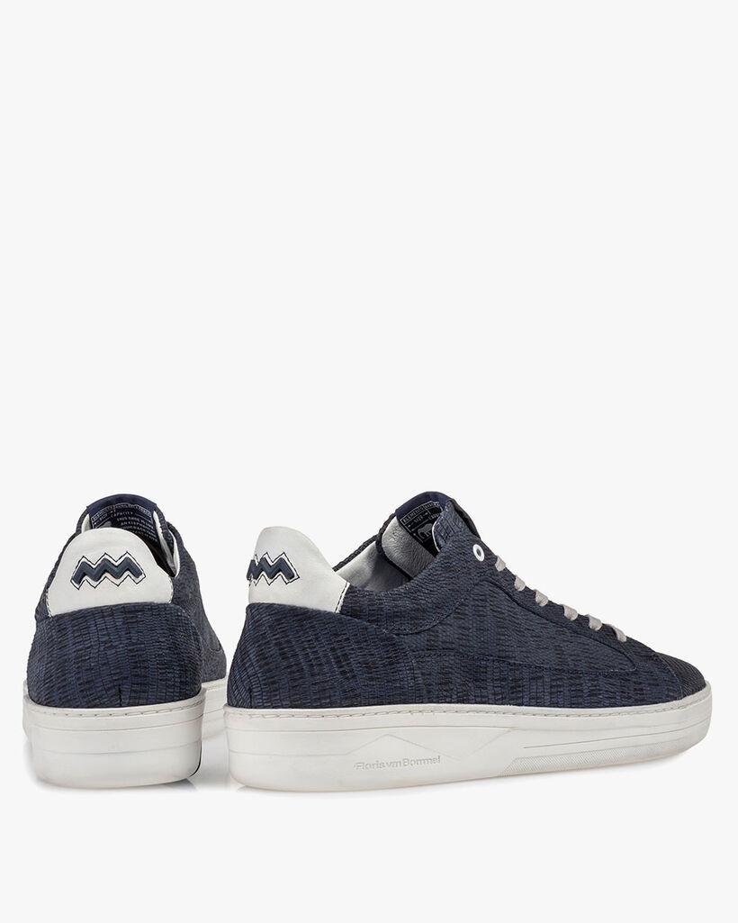 Sneaker printed leather dark blue