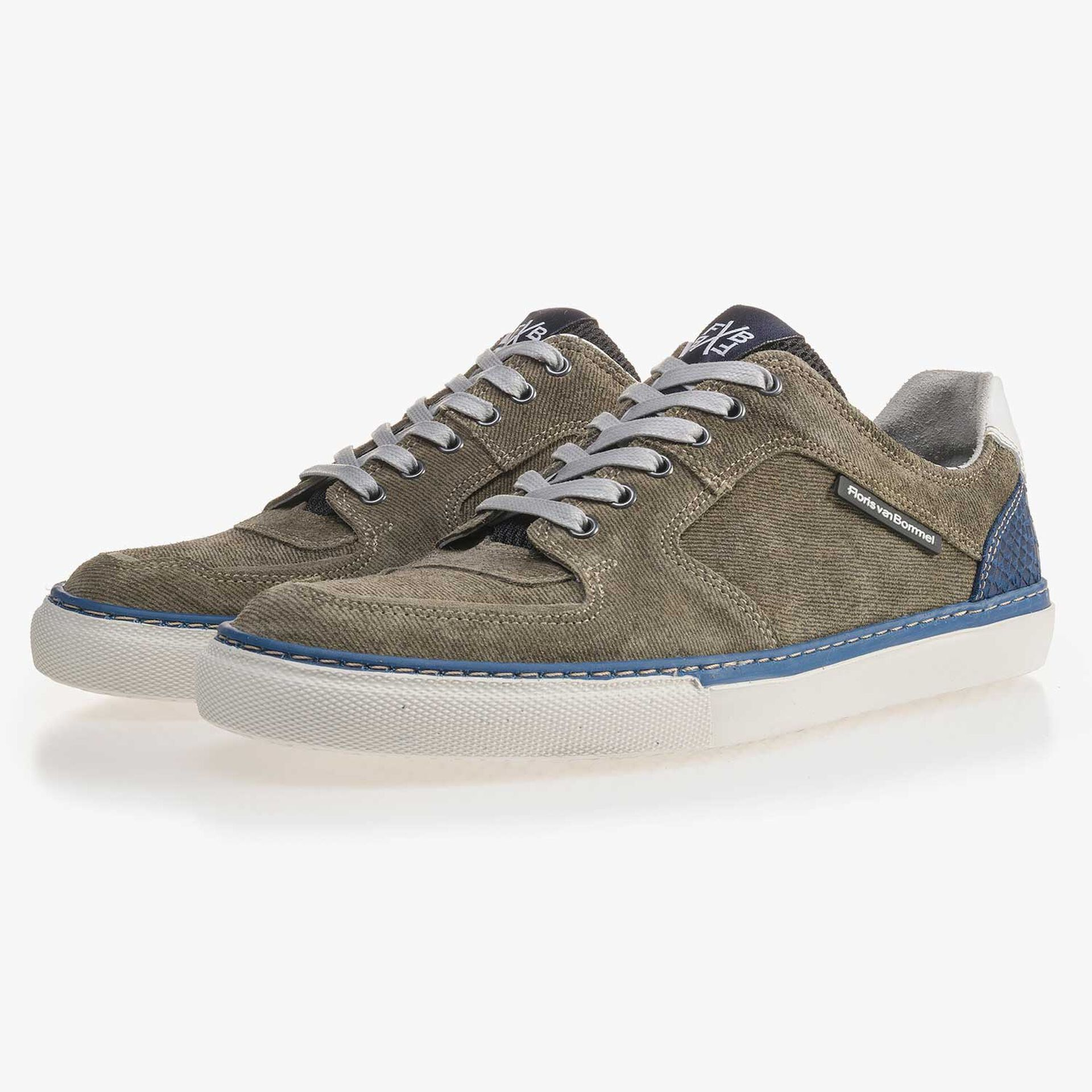 Olive green patterned suede leather sneaker