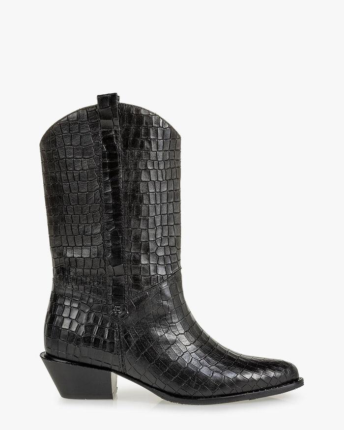Boot reptile print black