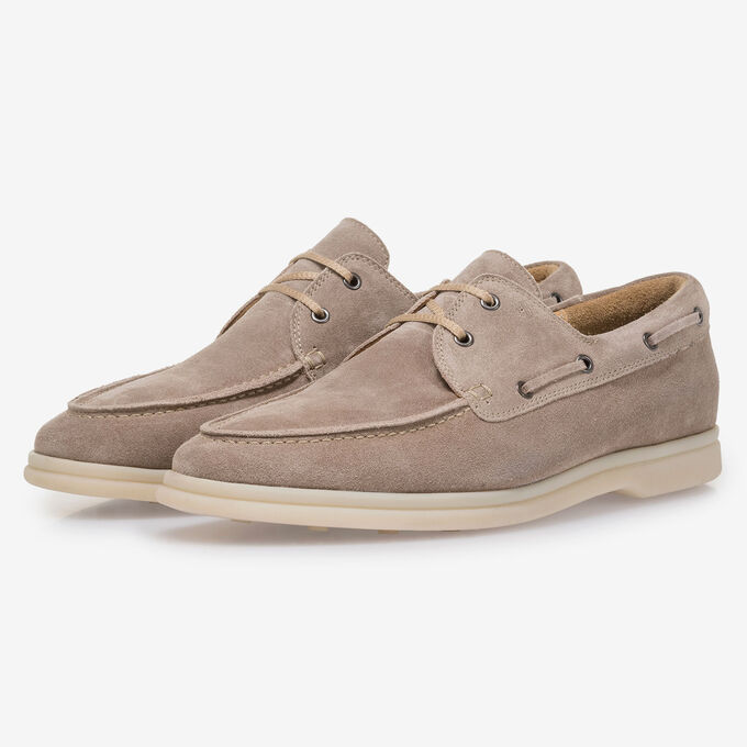 Beige suede leather boat shoe