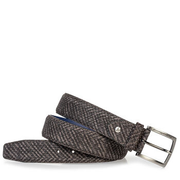 Suede leather belt grey with black print