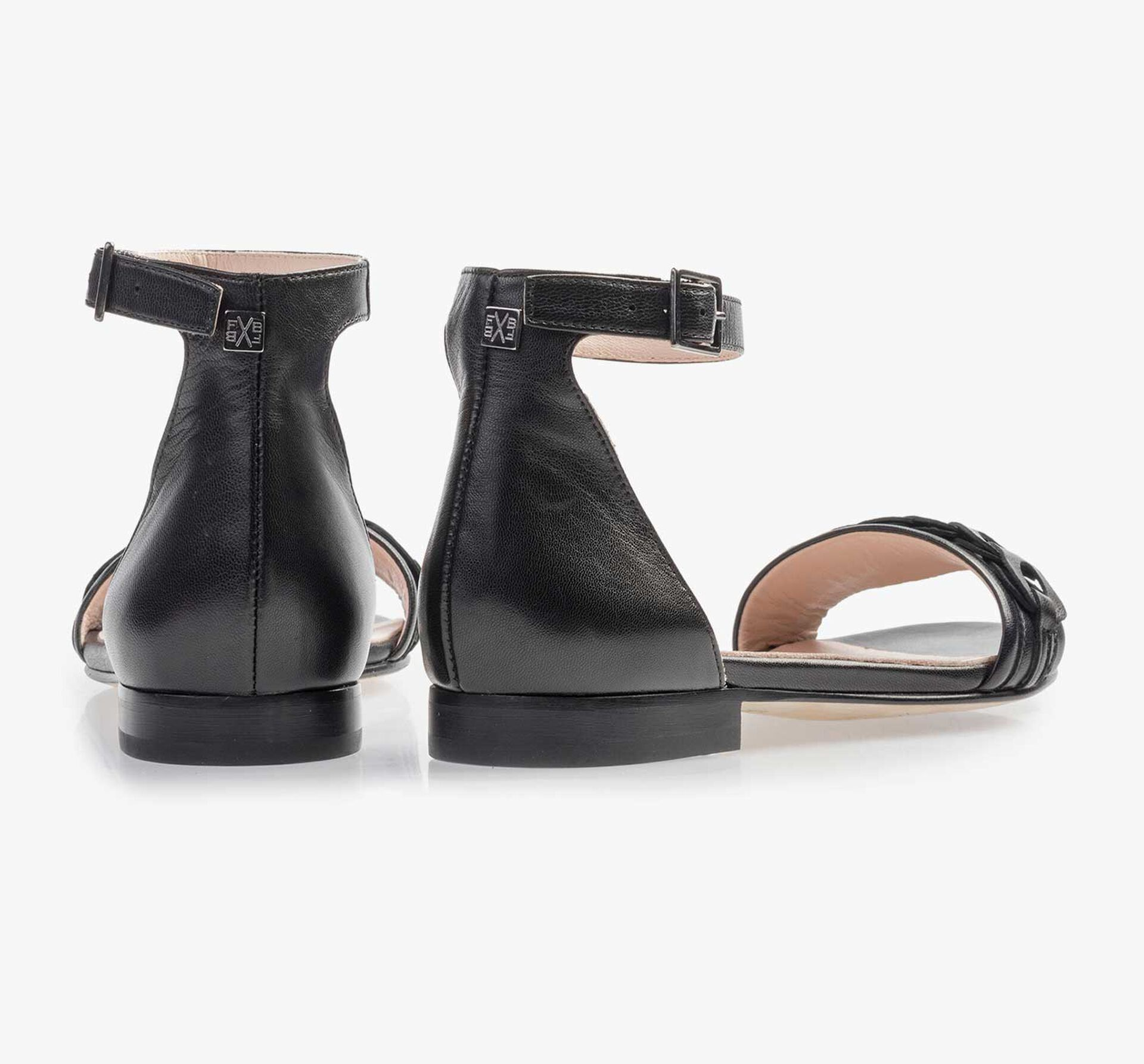 Black leather buckle closure sandal