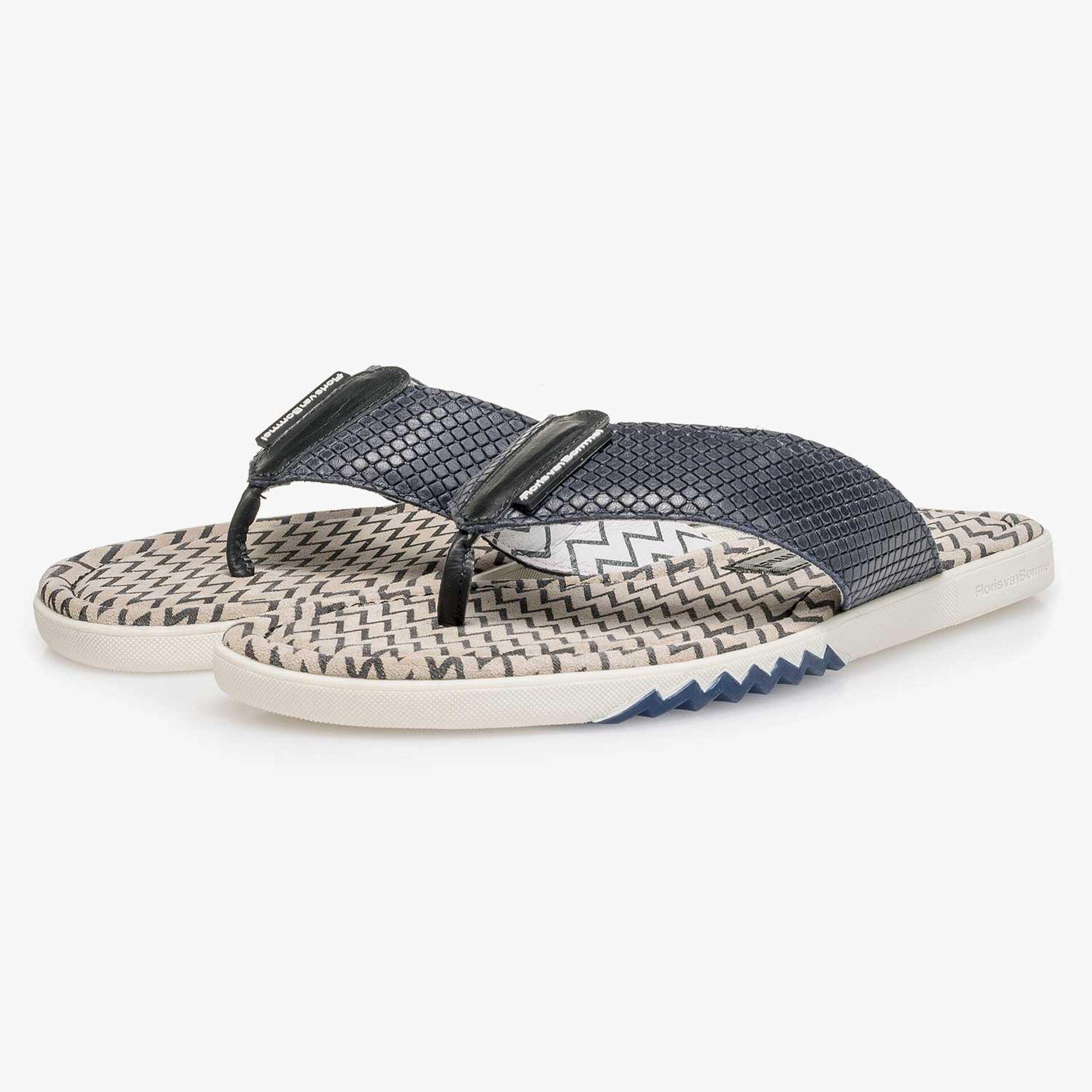 Blue printed calf leather thong slipper